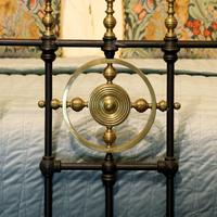 Late Victorian Brass & Cast Iron Antique Bed in Black (4 of 7)