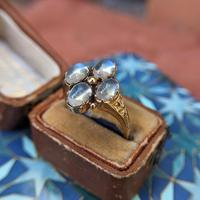 Vintage 9ct Yellow Gold Four Moonstone Cabochon Ring (2 of 9)