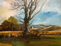 Large Magnificent Extensive Vintage Autumn Country Landscape Oil Painting (6 of 13)
