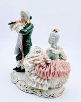 Dresden Germany Porcelain Figurine Musicians Playing Piano & Flute (3 of 9)