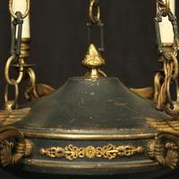 French Gilded Brass Empire 6 Light Chandelier (7 of 10)