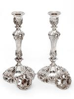 Pair of Decorative Victorian Silver Plated Candle Sticks in a High Rococo Form (2 of 4)