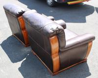 1960's Retro Pair Brown Leather Armchairs (2 of 3)