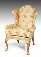 Early 20th Century Giltwood Wing Chair on Well-carved Cabriole Supports