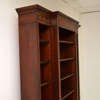 Antique Sheraton Style Inlaid Mahogany Open Bookcase (5 of 11)