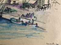 Original pencil and crayon drawing 'Marseilles docks' by Barbara Lady Brassey. 1911-2010. Inscribed and dated 34 (2 of 2)