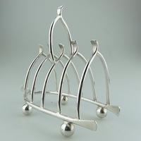 Pretty Antique Silver Plate Novelty Wishbone Toast Letter Rack c.1890 (2 of 8)