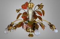 Large Florentine Ceiling Light Chandelier Toleware with Polychrome Painting (5 of 11)