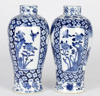 Chinese Pair of Large Blue & White Panel Vases with Figures Qing Dynasty (21 of 25)