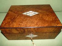 QUALITY Inlaid Figured Walnut Jewellery Box + Tray c.1870 (2 of 14)