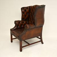 Antique Leather  Wingback Armchair (3 of 9)