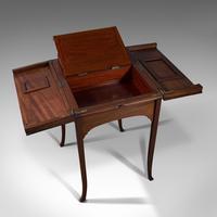 Antique Writing Desk, English, Mahogany, Side, Correspondence Table, Edwardian (10 of 12)