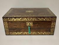 Superb Antique Rosewood Brass Inlaid Writing Slope Box with Double Hinge (2 of 12)
