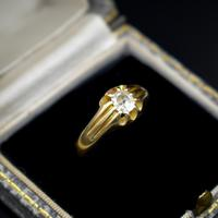 Antique Old Cut Diamond Solitaire Belcher 18ct Gold Ring (2 of 10)