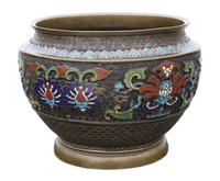 Chinese bronze cloisonne planter bowl Late 19th Century (6 of 7)