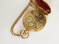 1930s Bravingtons Renown half hunter pocket watch and chain (4 of 5)