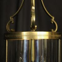 French Convex Gilded Triple Light Hall Antique Lantern (8 of 10)
