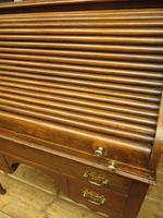 Antique Oak Roll Top Writing Desk, Tambour Front Bureau Desk (10 of 20)