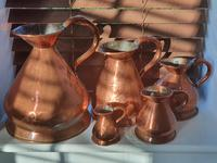 Antique set of 5 x Graduated Copper haystack Jugs Gallon down to Gill (9 of 9)