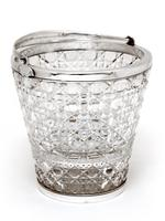 English Cut Glass & Silver Plated Ice Pail with Floral Pattern Pierced Ice Grill