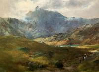 (2of2) Huge Magnificent 19thc Snowdonia Mountain Welsh Landscape Oil Painting (12 of 13)