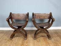 Pair of 20th Century Oak & Leather X-Frame Armchairs (2 of 7)