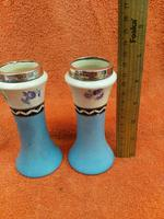 Antique Sterling Silver Hallmarked Topped 1923 Art Deco Ceramic Vases, Chester (8 of 9)