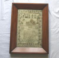 Rare & Fine Embroidery Silk Textile Scottish Castle Sampler c.1841 (8 of 9)