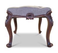 Walnut Upholstered Footstool (3 of 7)