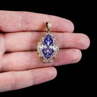 Antique Victorian Enamel Locket 15ct Gold c.1890 (2 of 7)