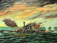 "Large Marine Oil Painting WW2 Sea Battle ""HMS Battleship Hood The Last Moments"" (2 of 8)"