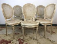 Vintage French Set of 6 Bergère Cane Dining Chairs Medallion Louis Style (2 of 11)