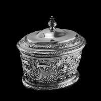 Rare Antique Solid Silver Cellini Tea Caddy Box - Mappin & Webb 1902 (12 of 28)