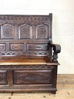 Antique 19th Century Carved Oak Settle (4 of 10)