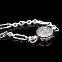 Antique Victorian Sterling Silver Albertina Albert Watch Chain Bracelet with Tassel and Drum Charm (4 of 14)