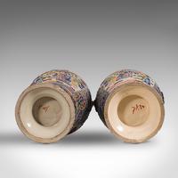 Pair Of Tall Antique Satsuma Vases, Japanese, Ceramic, Decorative, Moriage, 1900 (11 of 12)