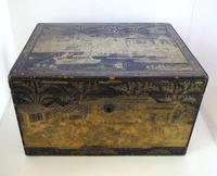 Rare Antique Chinese Lacquered Giltwood Large Tea Caddy Chest / Box / Casket with Pewter Liner c.1800