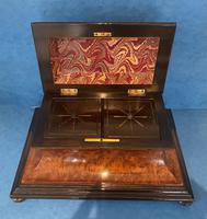 Victorian Burr Cedar & Ebony Shaped Tea Caddy (14 of 20)
