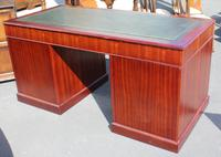 1960s Mahogany Pedestal Desk with Green Leather (4 of 4)
