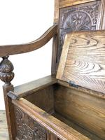 Victorian Carved Oak Settle or Hall Bench (11 of 16)