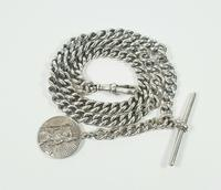 Beautiful Solid Silver Henry Allday Double Link Albert Chain & T BAR (7 of 12)