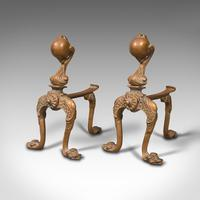 Pair  of Antique Decorative Fireside Tool Rests, French, Brass, Andiron, Victorian (3 of 12)