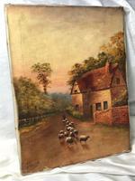 Victorian Oil Painting Shepherd & Flock Of Sheep Circa 1891 (5 of 13)