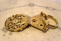 Georgian Pocket Watch Chain Fob 1830s Antique Large Brass Verge Balance Cock Fob (3 of 9)