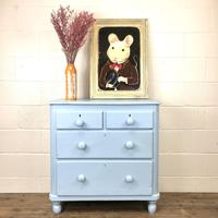Small Victorian Blue Pine Painted Chest of Drawers (11 of 11)