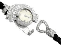 3.07ct Diamond Cocktail Watch in Platinum - Art Deco - French Antique c.1935 (6 of 12)