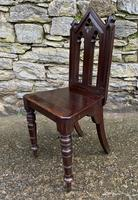 Antique Gothic Oak Hall Chair (4 of 13)