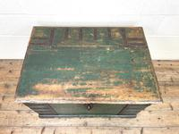 Large Distressed Painted Metal Bound Trunk (3 of 10)
