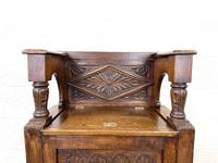Early 20th Century Antique Carved Oak Hall Seat (4 of 13)