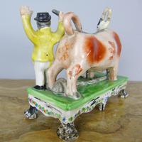Rare Bull Baiting Staffordshire Figure Obadiah Sherratt (8 of 11)